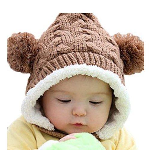 omo-baby-infant-boy-girl-knit-crochet-rib-pom-pom-winter-hat-cap-hood-warm-brown
