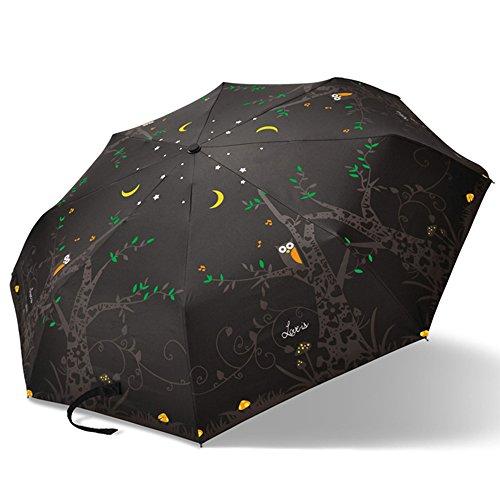 Eule Regenschirm Auto Öffnen Schließen für Einhandbedienung Taschenschirm,wasserdichte Überdachung -