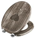 Toilettendeckel in Holzoptik mit Herz