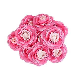 LOVIVER 10x Cabezas De Flores De Camelia De Seda Artificial Decoración del Banquete De Boda Bricolaje Rosa Roja