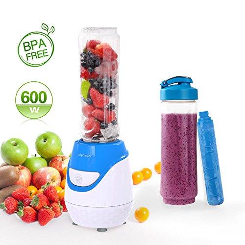 Aigostar Blueberry 30JDI - Mixer 600W Smoothiemaker mit 1 kühl Stock, 2 Reisesportflaschen und 2 Deckel, Tritan Material in Lebensmittelqualität, BPA-frei, 600 ml, Farbe Blau - Mixer-cup Power