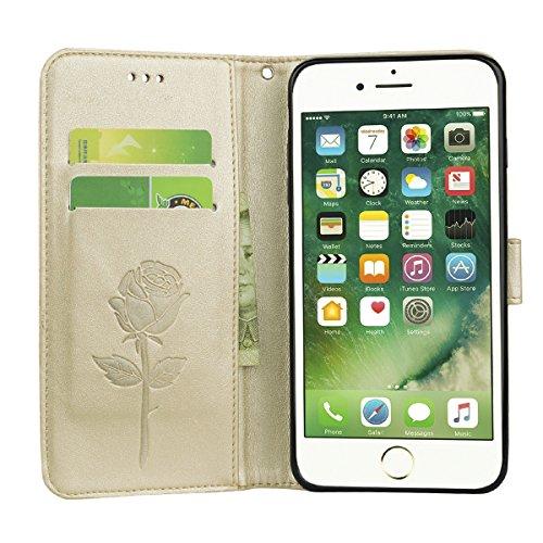 Coque iPhone 7 Anfire Fleur Motif Peint Mode Coque PU Cuir pour iPhone 7 Etui Case Protection Portefeuille Rabat Étui Coque Housse pour Apple iPhone 7 (4.7 pouces) Luxe Style Livre Pochette Flip Walle Or