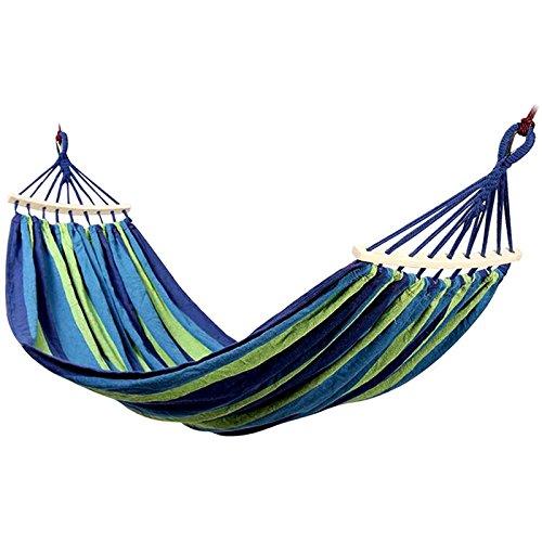 Licxcx Hängematte Outdoor-Schaukel Single Double verbreiterte Dicke Leinwand Indoor-Anti-Rollover Stuhl Farbe Rot Hängematte, Blau Doppelt