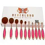 Neverland 10 piece oval brush set toothbrush makeup brush oval makeup brush set oval brushes Rose