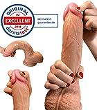 Dildo - Zwei-Layer-Silikon Dildo mit extra starkem Saugnapf - Realistischer Dildo - Sexspielzeug für Frauen von Aurelia® - Dermatest Zertifikat exzellent