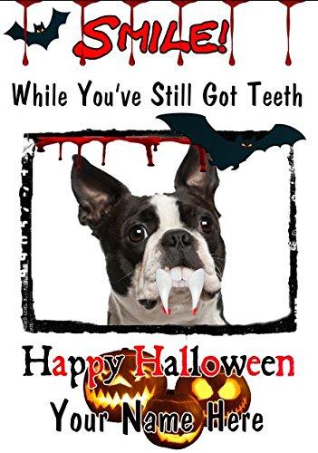 Boston Terrier Hund A5personalisierbar Grußkarte Halloween Zähne Smile C11Spooky waagr