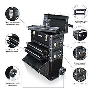 US PRO Tools Black Work Center Plastic Steel Mobile Rolling Chest Trolley Cart cabinet 3 IN 1 Tool Box Wheels
