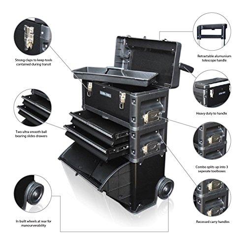 US PRO TOOLS schwarz Kunststoff Stahl Mobile Roller Brust Trolley Cart Schrank 3in 1Werkzeug Box (Brust-tool-box Stahl)