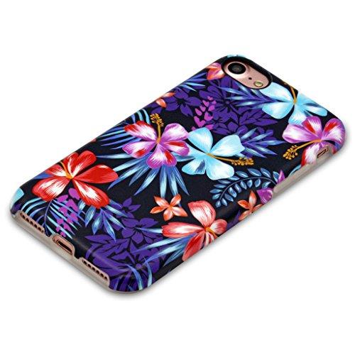 Panelize iPhone 7 Blümchen Hülle Schutzhülle Handyhülle Hard Case Cover Kratzfest Rutschfest Durchsichtig Klar (Palme 2) Palme Bunt