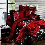 LanLan Set da 4 pezzi di biancheria da letto in cotone stampato, SET LENZUOLA MATRIMONIALI,Lenzuola Federe Set letto,3D Big Red Rose Floral (2 * 2.3m)