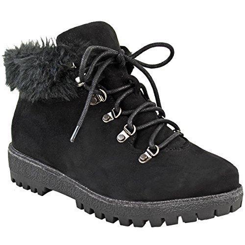 Femmes Hiver Bottines Montantes Doublées Fourrure Talon Plat Semelle Anti-dérapante pointure de chaussures Noir Daim Synthétique