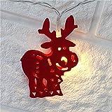 Queta Weihnachtsparty-Dekoration, Weihnachts-Lichterkette, Glocke, Schneemann, Kerze, warmweiß, Metall, für Garten, Terrasse, Rasen, Indoor red Deer