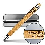 Kugelschreiber mit Namen Bester Opa der Welt - Gravierter Holz-Kugelschreiber inkl. Metall-Geschenkdose