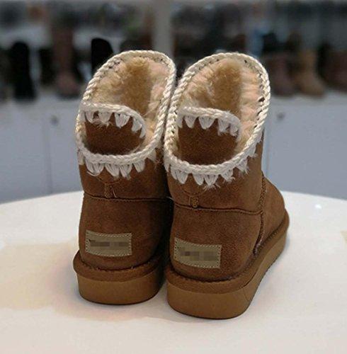 Scarpe Da Neve Calde In Cotone Caldo Di Stivale Di Neve Delle Donne Di Modo Calzatura Di Cotone Spessa Di Lana Brown