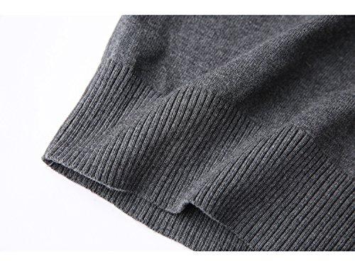 Mocotono Herren Munster Strickpullover Sweatshirt Top V-Ausschnitt aus Baumwolle Dunkelgrau 1