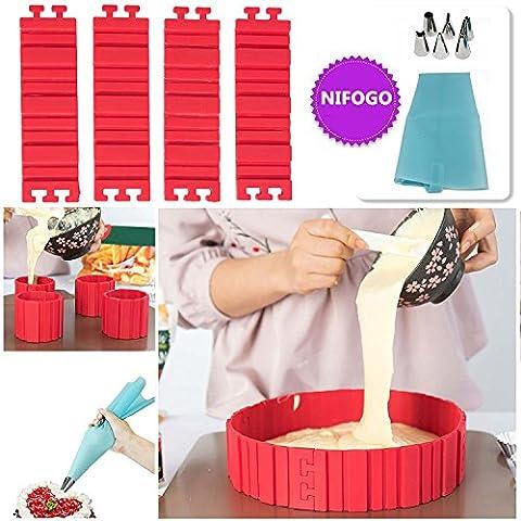 Bake Snake + Spritztüllen Set, Kuchenformen, Tortenring Verstellbar, Kuchenform Silikon, Silikon Form, Backform, Fondant Zubehör, Cake Mould, DIY eine Vielzahl von Formen (rot)