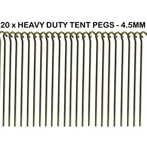51p%2BEJ6ky2L. SS300  - 20 x Heavy Duty 9 Tent PEGS - 23CM x 4.5MM - Made from GALVANISED Steel - Curved Hook ON TOP - Great for SECURING Tents/AWNINGS/Goal NETS/Pond Netting by We Search You Save