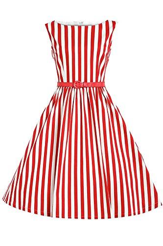 Babyonline Damen Kleid A-Linie Hülle Retro Arbeit Gestreift Knielang Bateau, Rot, 3XL (Schwarz Und Weiß Gestreiften Kleid Kostüm)