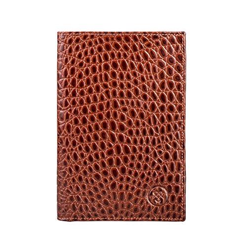 Maxwell-Scott® Kroko Luxus Geldbörse für Herren in Cognac Braun (Pianillo Croco) (Krokodilleder Aus Kartenfächer)