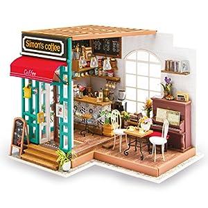 miniaturas: Rolife 3D casa de muñecas de Madera con luz café Miniatura DIY Modelo Kit-Tops J...