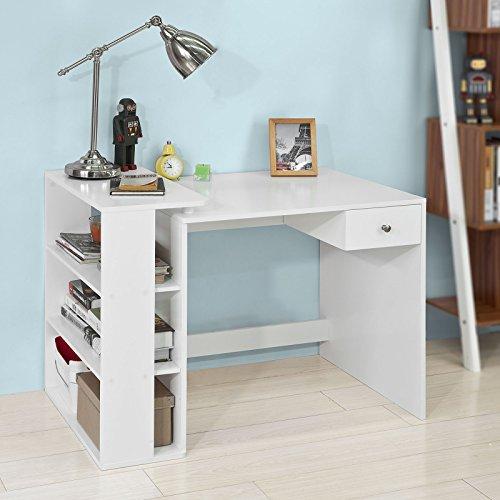 Sobuy® scrivania,porta pc,tavolo per computer ,con cassetto e tre ripiani,,bianco,fwt35-w,it