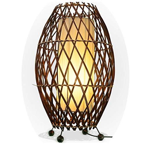 Bali asiatische Lampe Deko-Leuchte aus Rattan & Stoff, Stimmungsleuchte Stehleuchte aus traditioneller Handarbeit Simandra 41x25 cm Farbe Weiß (Asiatische Orientalische Lampe)