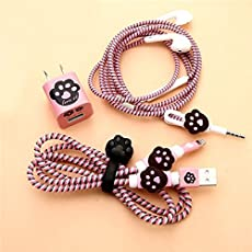 Rapidotzz 6-in-1 Multi Combo Spiral Cable Protectors + Earphones Winder + Sticker + Cable Clips + Earphone Jack Clip (P1)