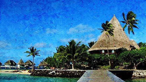 h Zahlen für Erwachsene Anfänger nach Hause Wand-Dekor Strand exotischen tropischen Meer Ozean Hotel Palmier DIY Geschenk Acryl Malerei 40X50CM Ohne Rahmen ()