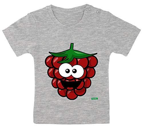 Himbeer Mädchen Kostüm - HARIZ Baby T-Shirt Himbeere Lachend Früchte Sommer Plus Geschenkkarte Bleistift Grau 9-15 Monate / 70-79cm