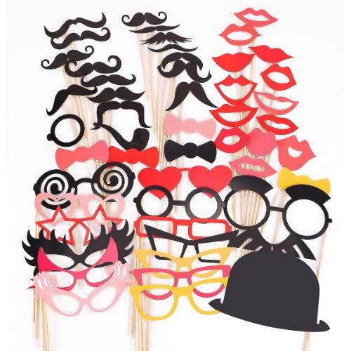 50 Tlg. Schwarz Rot Party Foto Verkleidung Schnurrbart Lippen Brille Krawatte Hüten Photo Booth Props Set SPZ014 (Krawatte Booth Schwarze Photo)