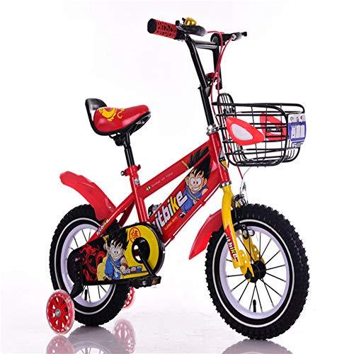 XiangYu Kinderfahrrad, Material mit Hohem Kohlenstoffstahl, Doppelscheiben Bremssystem, Verstellbarer Lenker und Sattel + Rutschfestes Hilfsrad + Korb Red-18inch