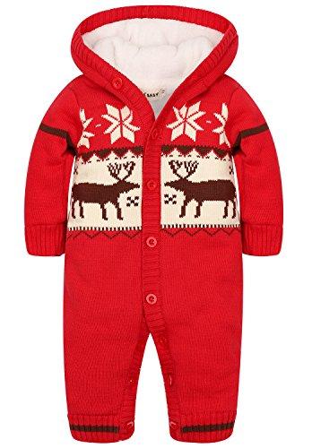 ZOEREA Baby Jungen M?dchen Weihnachten Elch Winter Strickjacke Pullover Jumper Strampler Babymode Sweatshirt Lange ?rmel verdicken plus Samt mit Kapuze S?ugling Spielanzug Kletter Kleidung(0-24m)¡
