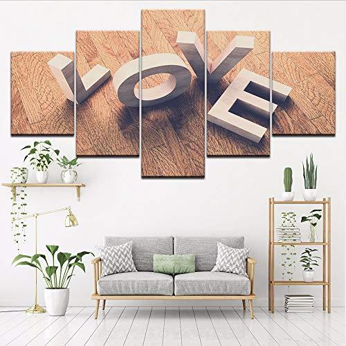 wand Home Decor Poster 5 Stücke Liebe Cube Wort Ansicht Gemälde Hd Drucke Wandkunst Brief Bilder Wohnzimmer Rahmen, 4X6 / 8/10 Zoll, Mit Rahmen ()