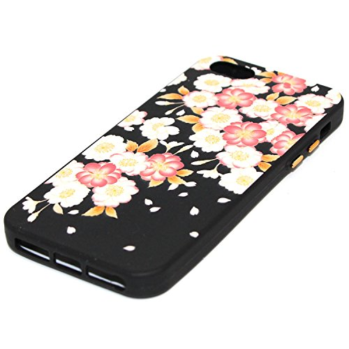 Linvei PU Leder Flip Case iPhone SE 5 5S Tasche,Bunte Muster Design/mit Kartenfach und Ständerfunktion-Karikatur Einhorn Muster Rote weiße Blumen Design