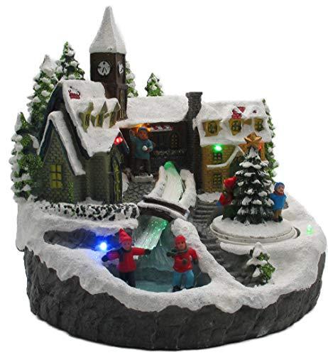 LED Winterdorf mit drehendem Element, Weihnachtsdeko mit bunter Beleuchtung, detailgetreu gefertigt, Bachlauf mit Farbwechsel (Tanne)