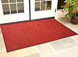 #6: Kuber Industries™ Dirt Rubb Off Clean Footwear PVC Thick Doormat for Offices,Hotel ,Restaurtaurant,Home,Shop Color- Red (Extra Large) Size : 90 cm x 60 cm x 1.5 cm