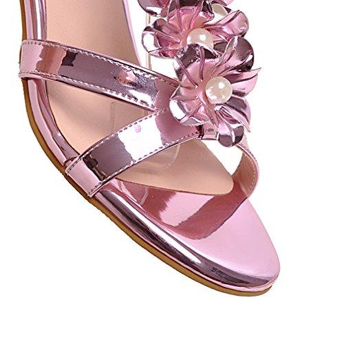 YE Damen Offen Zehen Chunky Heel Sandalen mit Blumen und 5cm Blockabsatz Bequem Schnürung Schuhe Rosa