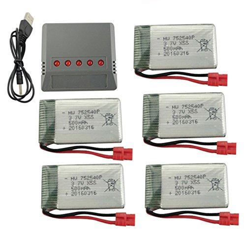 Fytoo 5PCS 3.7V 500mah Litio Batería & 5 en 1 Cargador para SYMA X5HW X5HC RC Quadcopter