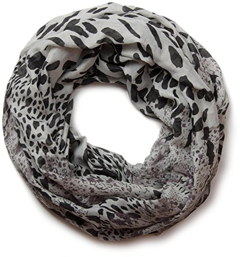 styleBREAKER Leoparden Print Loop Schlauchschal 01017009 (Grau) (Schal Animal Print)