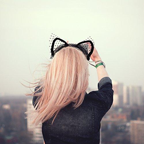 Stirnband Halloween dekoriert Zubita Sexy Nettes Schwarzes Hairband Spitze Katze Ohren Stirnband Weihnachten Halloween Cosplay Party Stirnbänder Cosplay Kopf Kostüm Frauen Spielzeug (Nette Frauen Katze Kostüme)