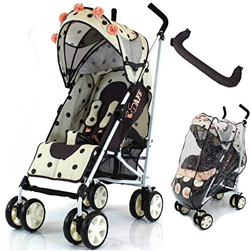 iSafe Full of Flowers Stroller Buggy Pushchair with Free Rain Cover + Bumper Bar  Baby Travel