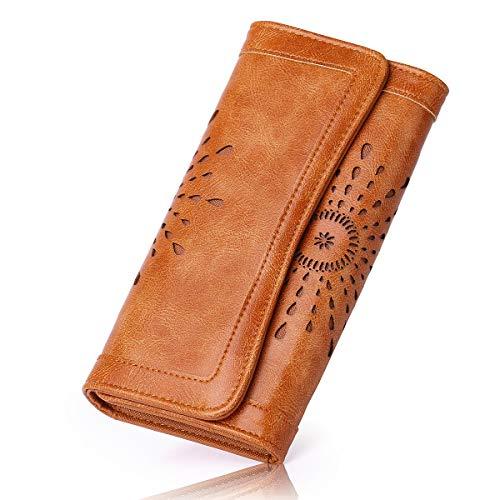 APHISONUK Damen Elegant PU Leder Geldbörse mit Vintage Design Damen Portemonnaie Geldbeutel, Damengeldbörse lang,Portmonee mit Reißverschluss (Braun-PU)