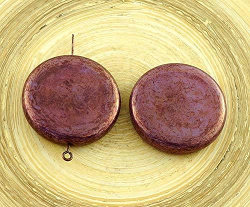2pcs Großen Picasso-Vega-Violett-Gold Flache Münze Anhänger Focal Tschechische Glas-Perlen 26mm (Große Gold Münze Anhänger)