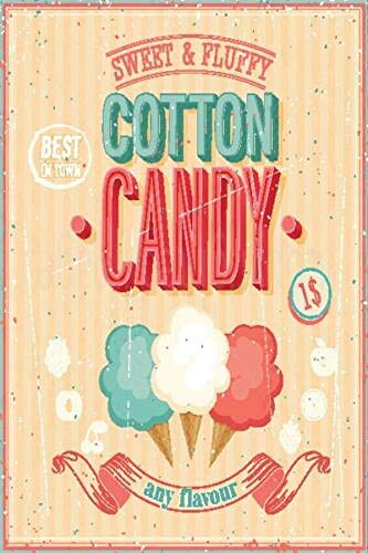HALEY GAINES Candy Cotton Metall Blechschilder Dekoration Retro Stil Schild Vintage Aluminium Poster Original Wandkunst Für Bar Cafe Küchen Garagen 20×30cm - Cotton Candy Cafe