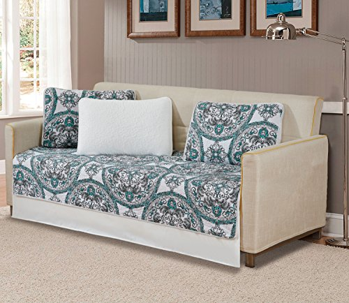 K&M MK Home Tagesdecke Gesteppt Print Modern Floral Weiß Grün Schwarz über Größe Neu # Madrid Daybed Weiß/Grün/Schwarz - Schwarzes Daybed Bettwäsche-set