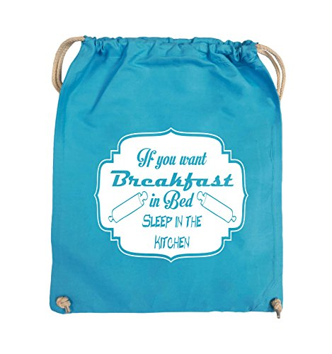 Comedy Bags - If you want Breakfast in Bed - KITCHEN - Turnbeutel - 37x46cm - Farbe: Schwarz / Pink Hellblau / Weiss