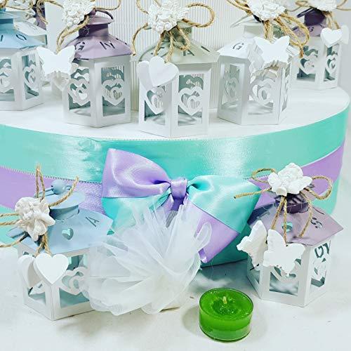 Bomboniere lanterne 4 colori con scritta sogni, amore, gioia complete di sacchetti con confetti, magnete esterno con acquisto singolo o con struttura espositrice (lanterna singola)