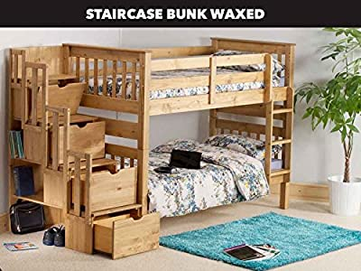 Mission Staircase Storage Single Bunk Bed In Waxed Pine