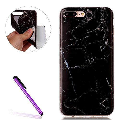 iPhone 7 Plus Hard Case Hülle,iPhone 7 Plus Glitzer Hülle,iPhone 7 Plus Transparent Hülle,iPhone 7 Plus Crystal Clear Case Hülle Klare Cristall Liquid Bling Schutzhülle Etui für iPhone 7 Plus 5.5 Zoll Marble 5