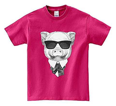 T-shirt à manches courtes - Cool Pig with Sunglass Portrait Hot Pink Small